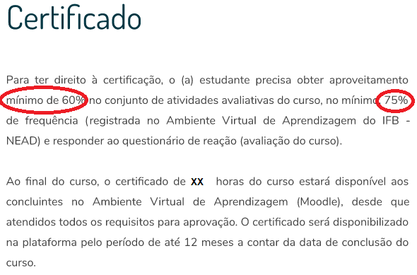 1 - Requisitos para obter certificado